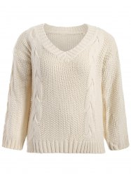 Plus Size Cable Knit Drop Shoulder Sweater - OFF-WHITE