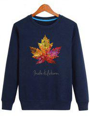 Long Sleeve Maple Leaf Print Sweatshirt