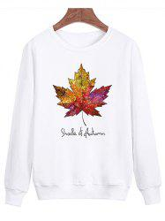 Long Sleeve Maple Leaf Print Sweatshirt - WHITE 4XL