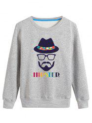 Colorful Hat and Cartoon Print Crew Neck Long Sleeve Sweatshirt - GRAY 4XL
