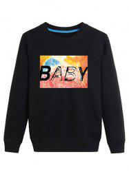 Watercolor Print Crew Neck Long Sleeve Sweatshirt
