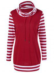 Cowl Neck Drawstring Striped Sleeve Tee - RED AND WHITE L