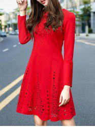 Long Sleeve Openwork A Line Cocktail Dress - RED