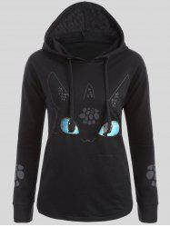 Plus Size Cartoon Character Graphic Hoodie - BLACK