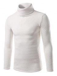 Ribbed Turtleneck Pullover Sweater - WHITE 2XL