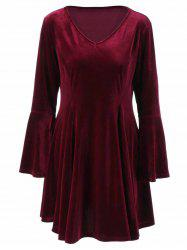 Bell Sleeve Velvet Skater Dress