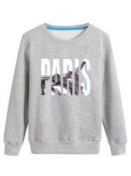 3D Paris Print Crew Neck Long Sleeve Sweatshirt - GRAY 4XL