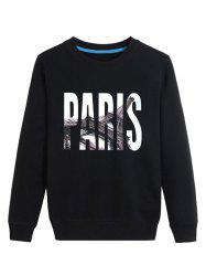 3D Paris Print Crew Neck Long Sleeve Sweatshirt