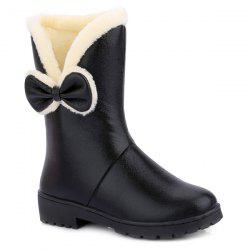 Fuzzy Bowknot PU Leather Short Boots