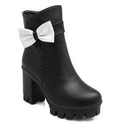 Bow Chunky Heel Short Boots