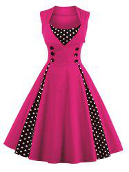 Polka Dot Retro Corset A Line Dress - TUTTI FRUTTI 4XL