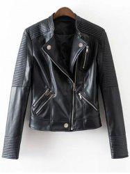 Zippered Embossed PU Leather Striped Jacket