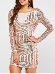 Sequined Long Sleeve Sparkly Tight Party Dress