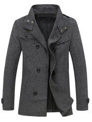 Stand Collar Back Vent Herringbone Pea Coat