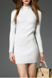 Mini Mock Neck Ribbed Knit Dress -