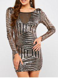 Low Back Sequin Long Sleeve Bodycon Mini Dress - BLACK AND GOLDEN S