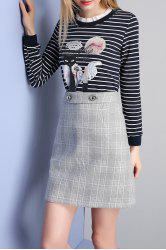A Line Mini Plaid Skirt - LIGHT GREY S