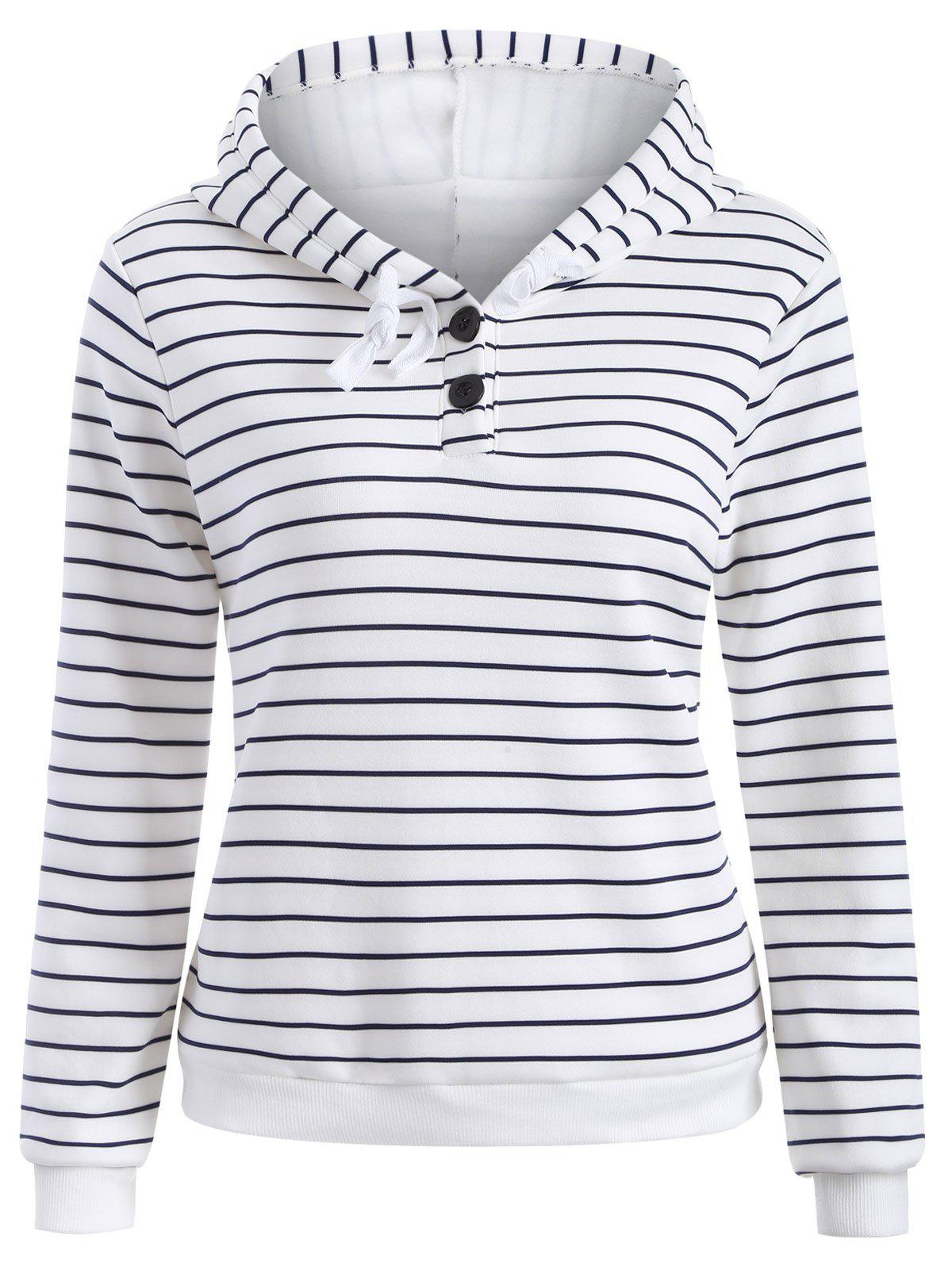 Outfit Striped Button Embellished Flocking Hoodie