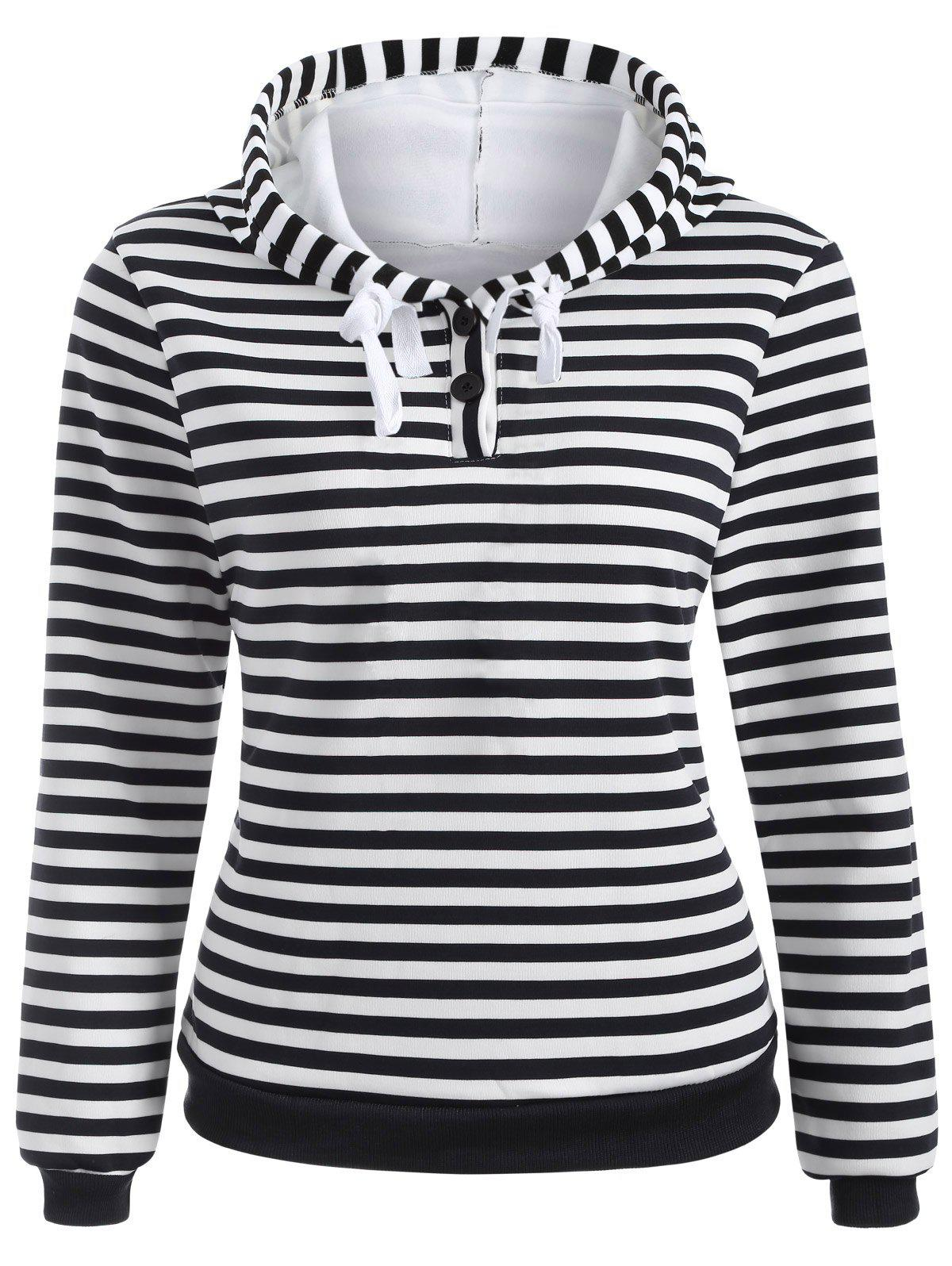 Fancy Striped Button Embellished Flocking Hoodie