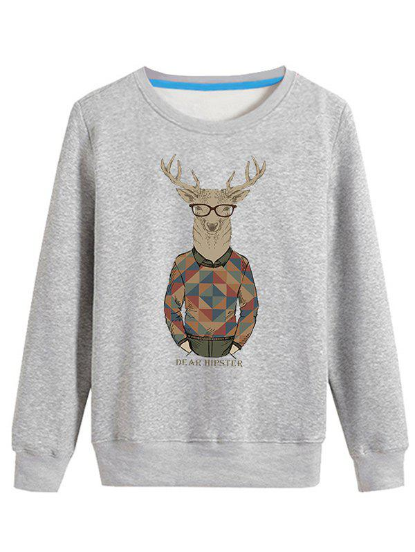 Fancy Cartoon Elk Print Crew Neck Long Sleeve Sweatshirt