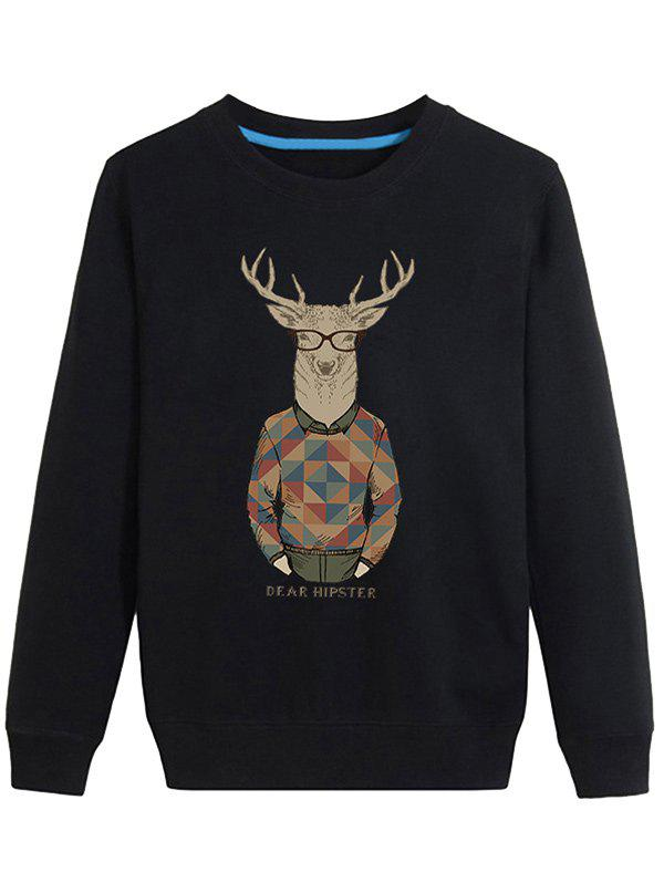 Chic Cartoon Elk Print Crew Neck Long Sleeve Sweatshirt