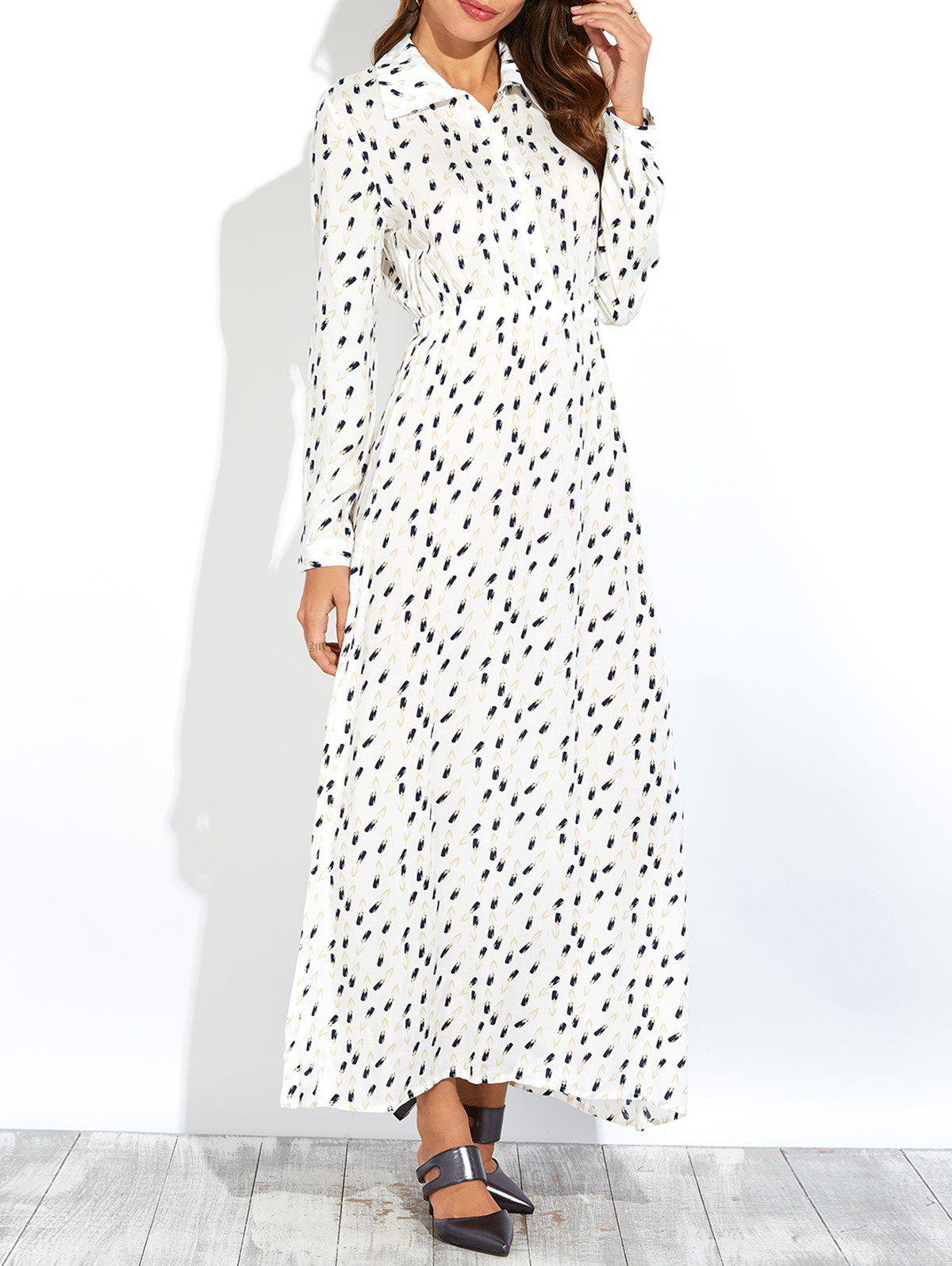 Outfits Printed Long Sleeves Maxi Swing Dress
