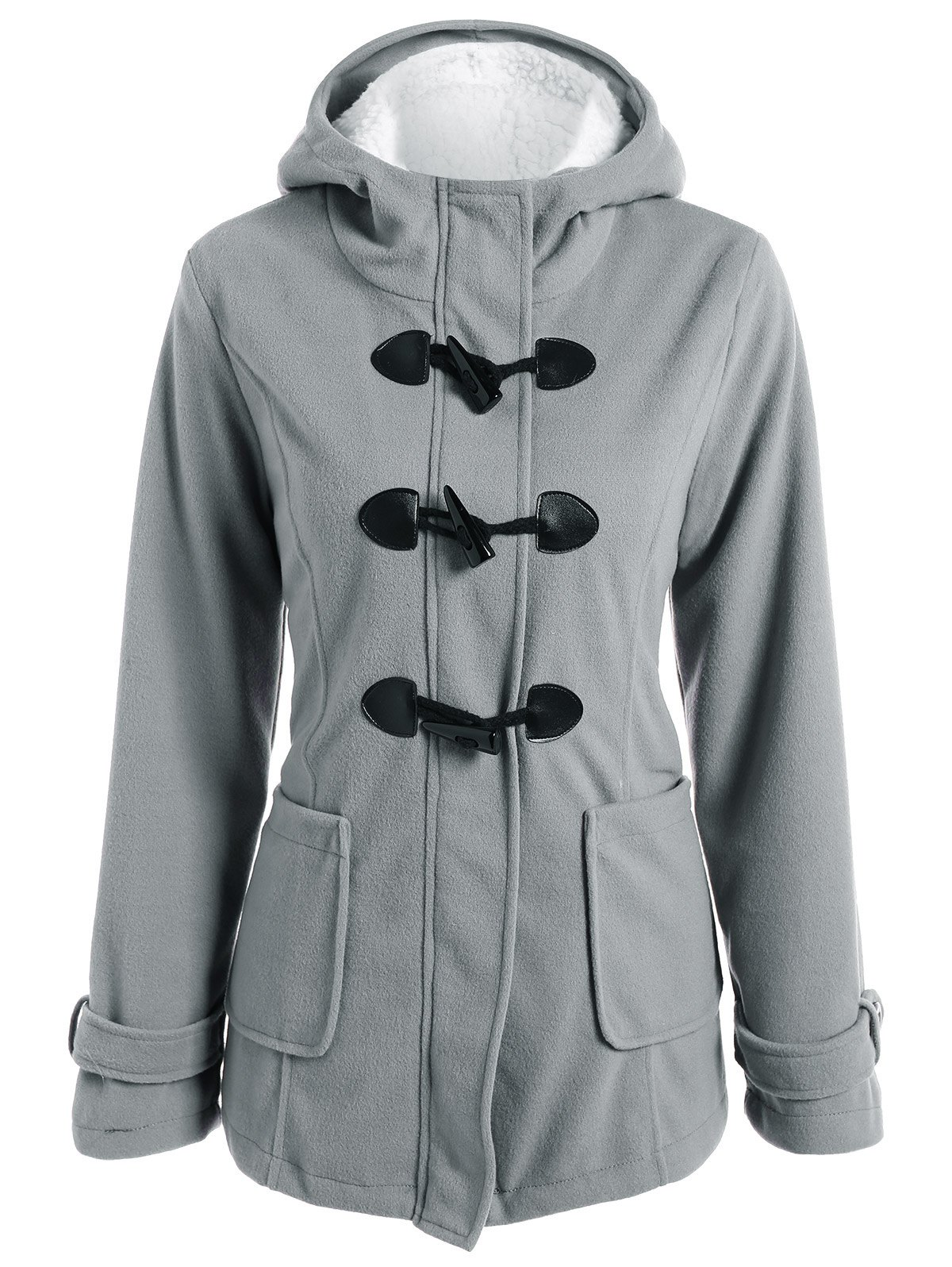 Shop Zip Up Fleece Hooded Duffle Coat