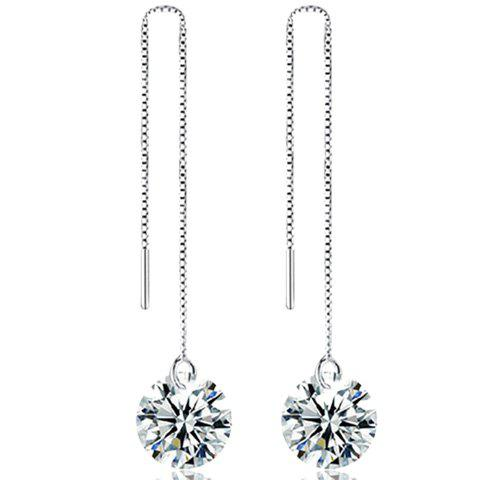 Rhinestone Chain EarringsJEWELRY<br><br>Color: SILVER; Earring Type: Drop Earrings; Gender: For Women; Style: Noble and Elegant; Shape/Pattern: Others; Weight: 0.030kg; Package Contents: 1 x Earring (Pair);