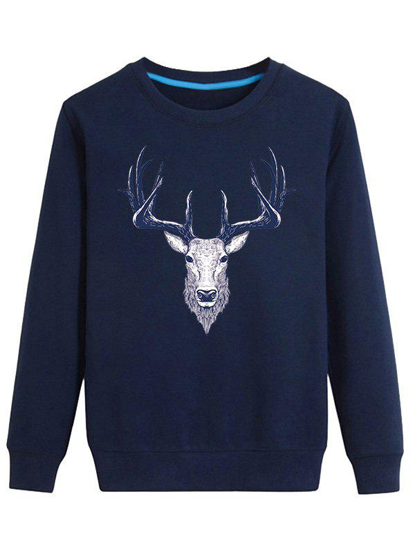 Store Elk Print Crew Neck Long Sleeve Sweatshirt