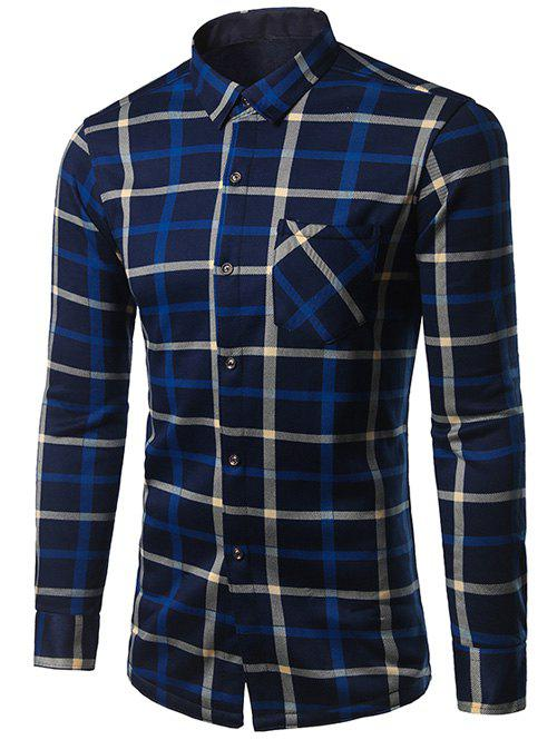 Best Turndown Collar Thicken Color Block Plaid Pattern Shirt