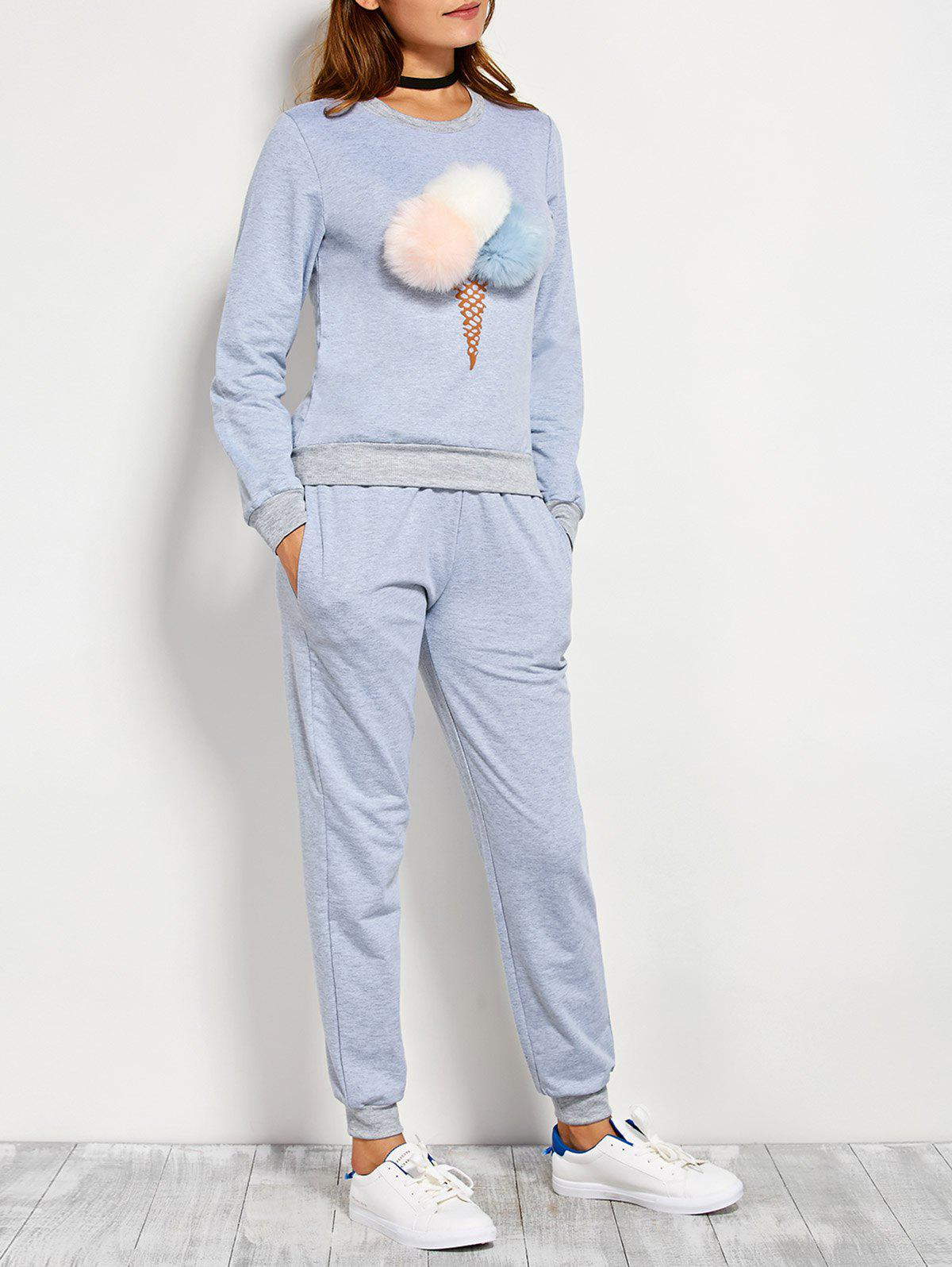Store Pompons Pullover Sweatshirt and Running Jogger Pants