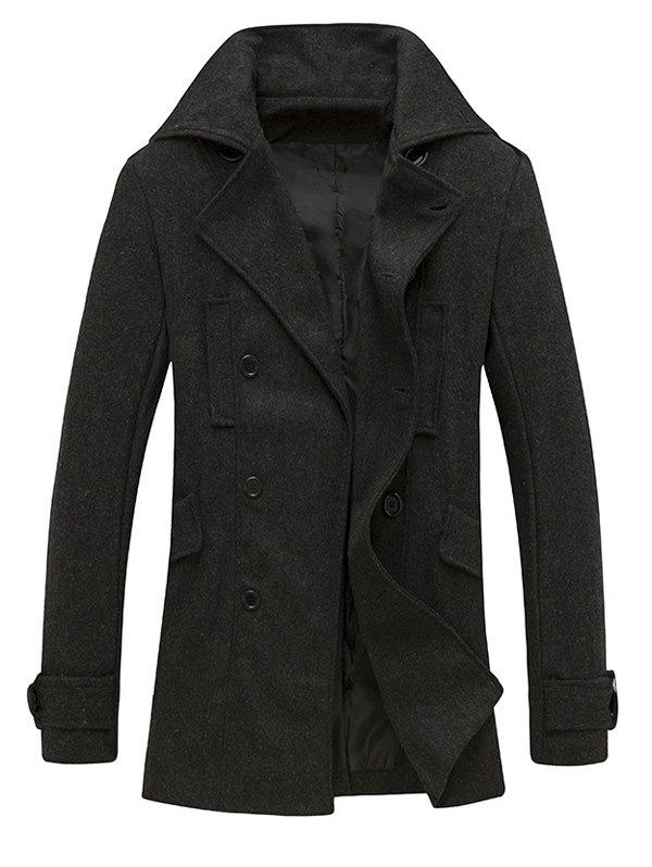 Outfit Pocket Button Tab Cuff Epaulet Design Pea Coat
