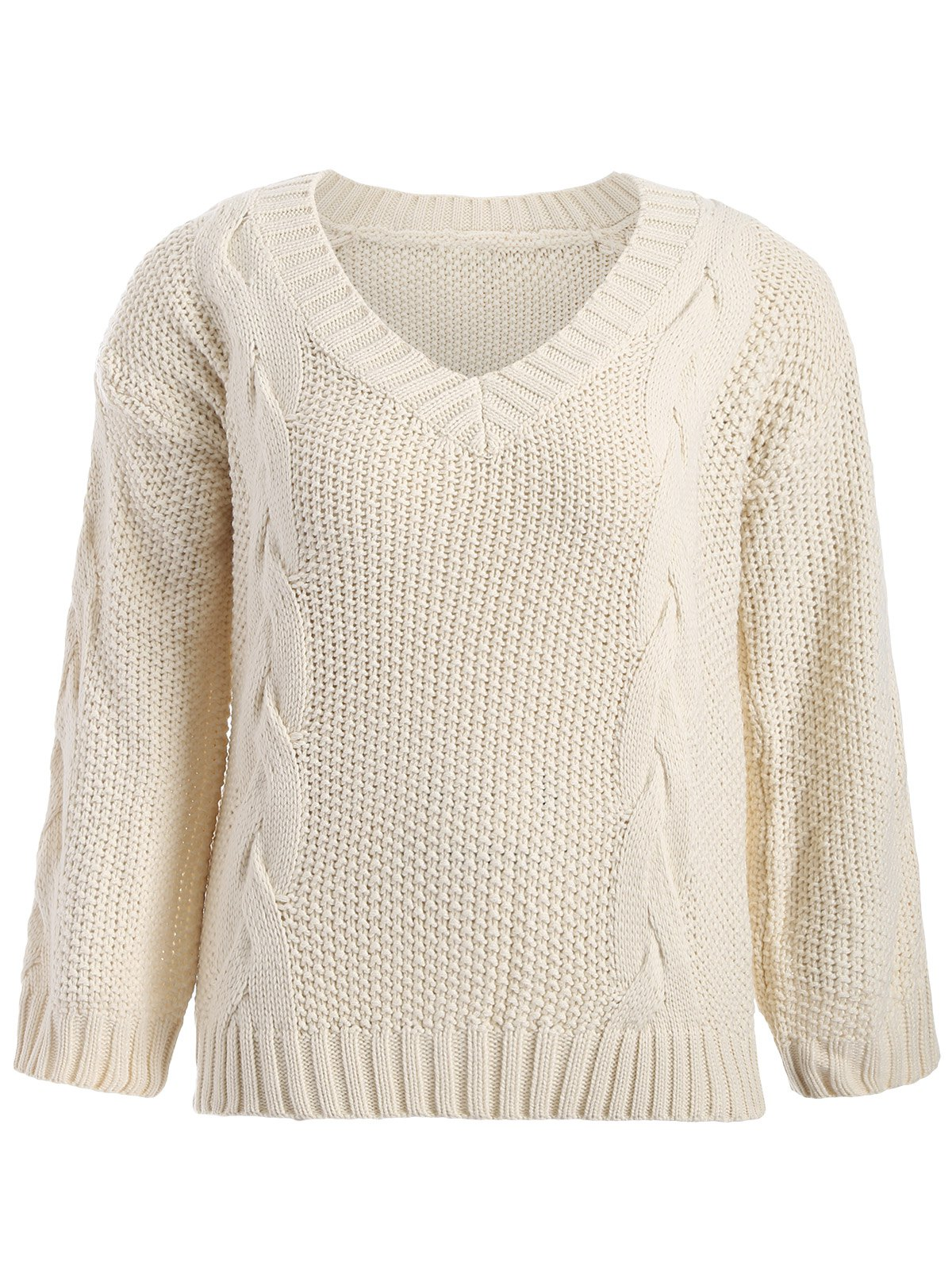 Plus Size Cable Knit Sweater Goutte d'épaule