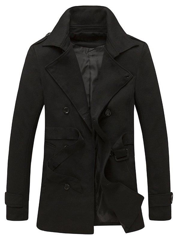 Outfit Epaulet Design Back Vent Belted Trench Coat