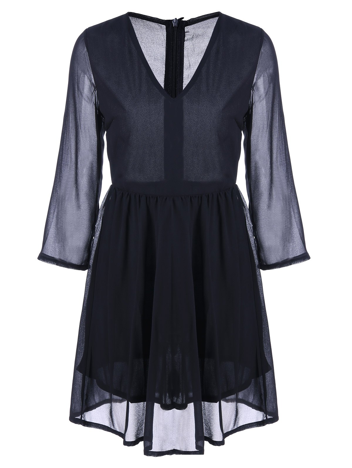 Affordable See Through Flare Chiffon Dress