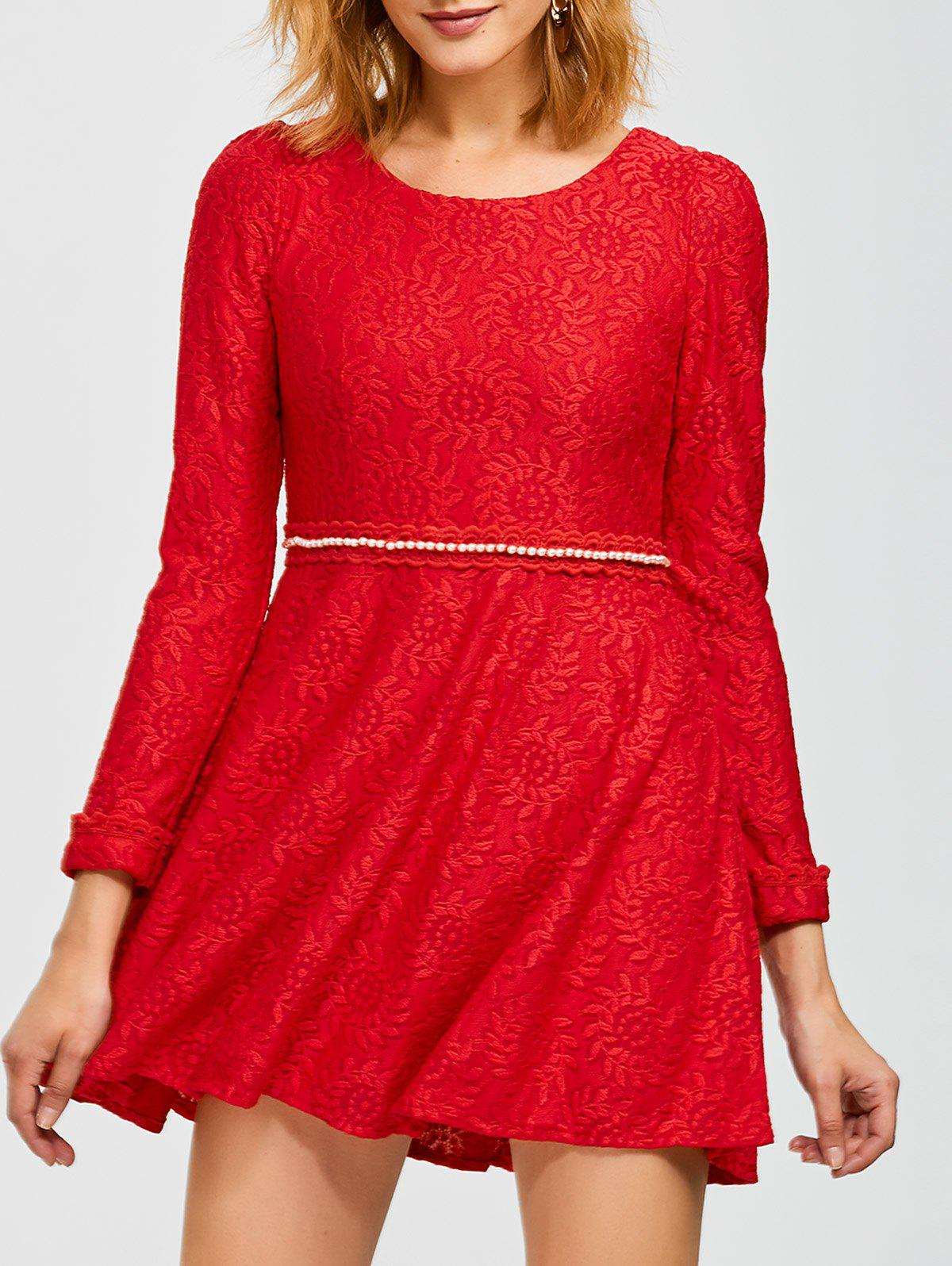 Fancy Mini Lace Flare Dress
