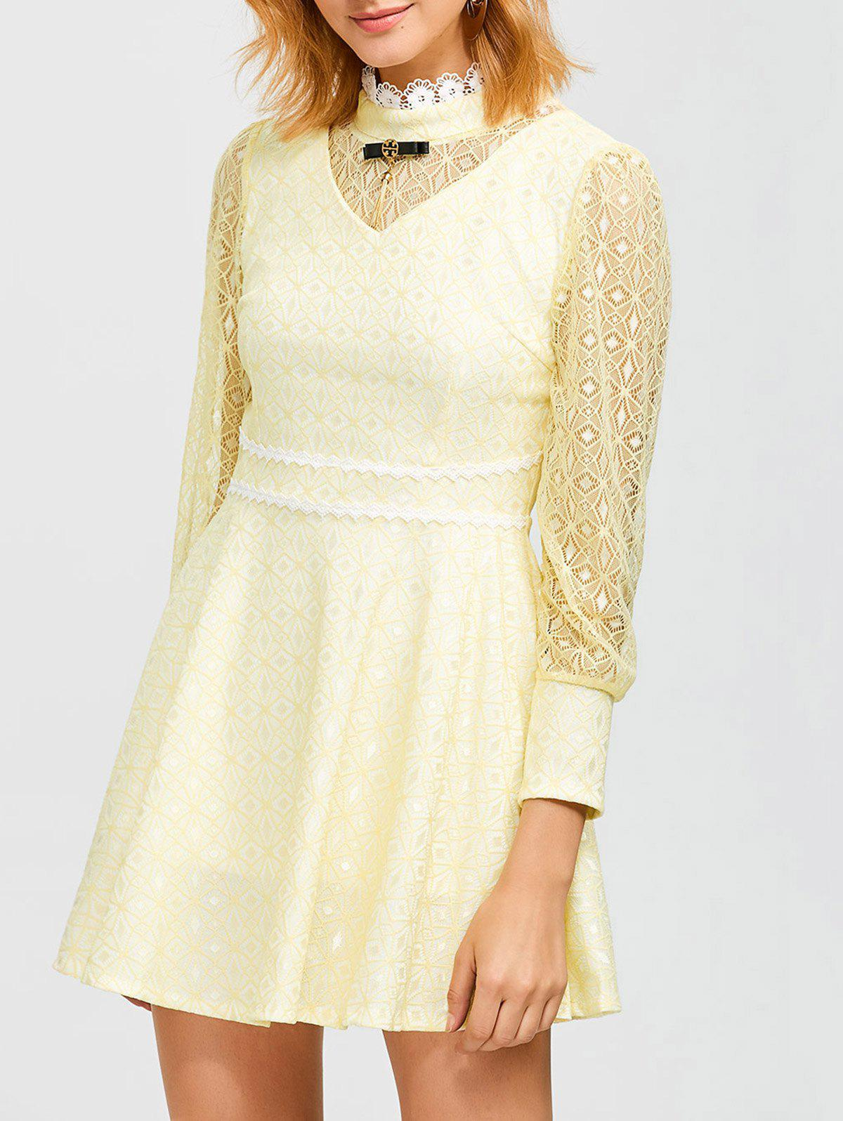 Hot Sheer Lace Openwork Mini  Dress