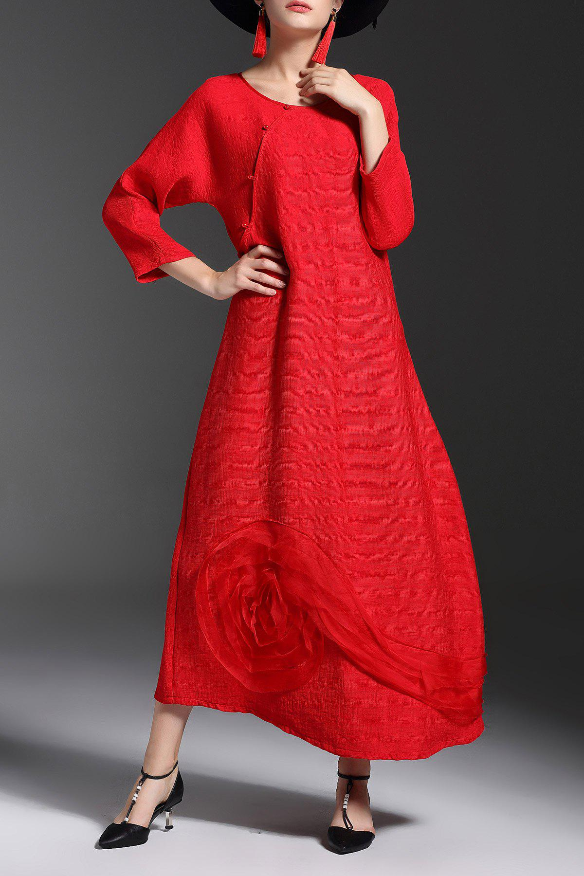 2018 Long Sleeve Loose Maxi Dress In Red Xl | Rosegal.com