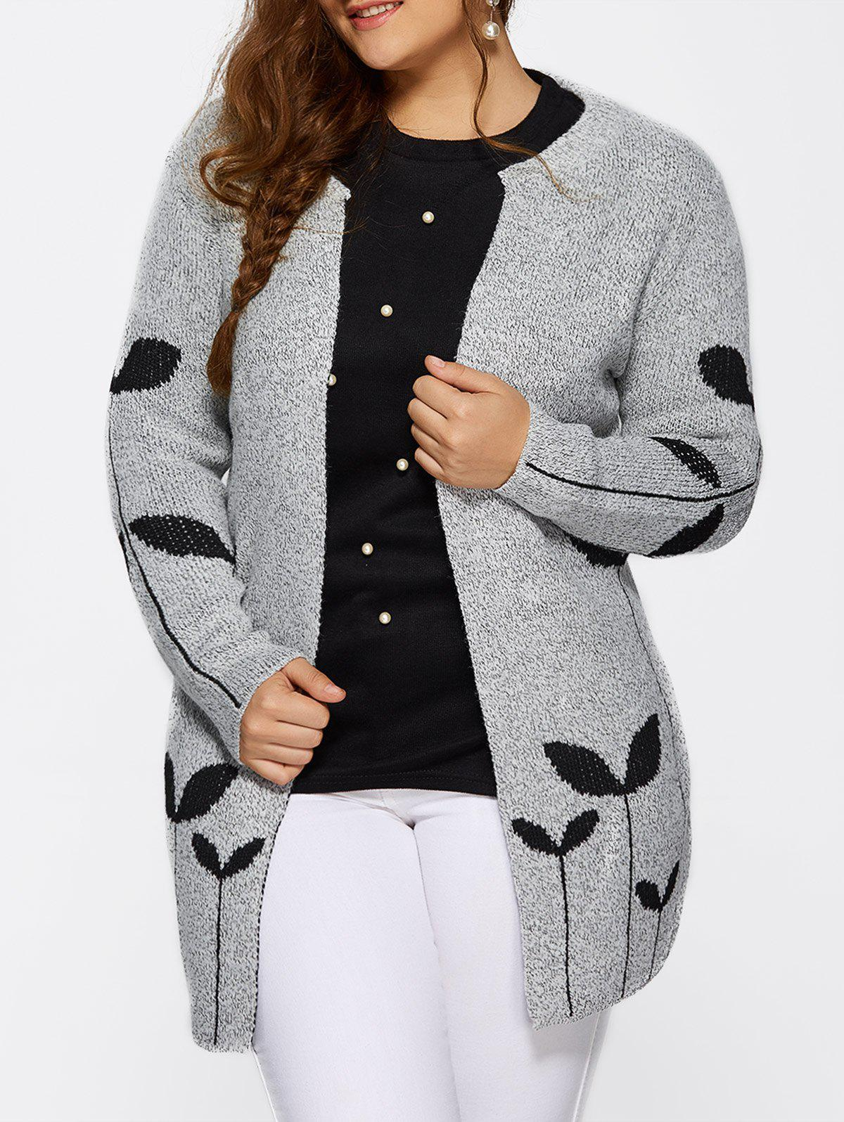 Outfits Collarless Leaf Pattern Cute Plus Size Cardigan