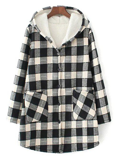 Chic Hooded Checked Borg Lined Coat