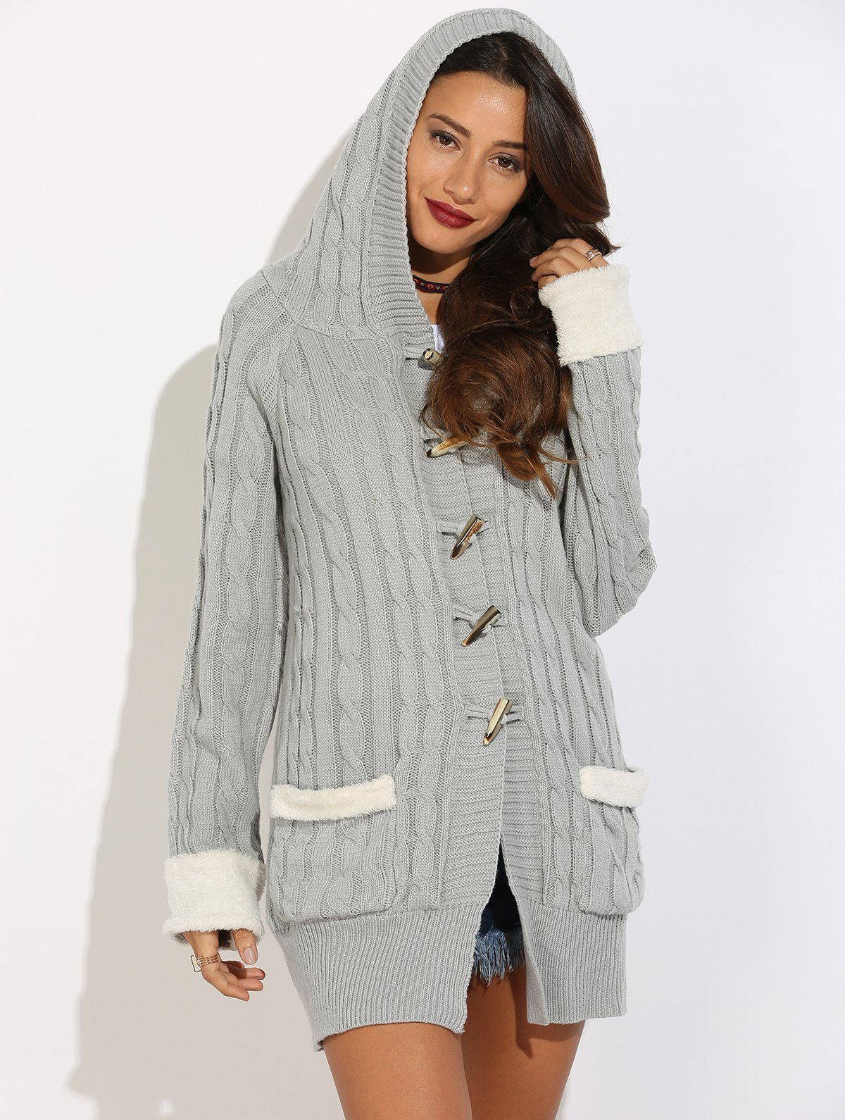 Outfit Horn Button Cable Knit Cardigan