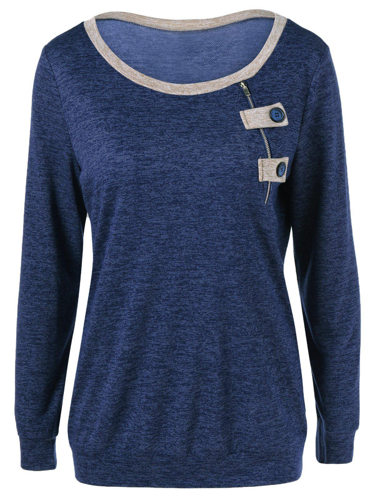 Outfit Contrast Trim Button Decorated T-Shirt