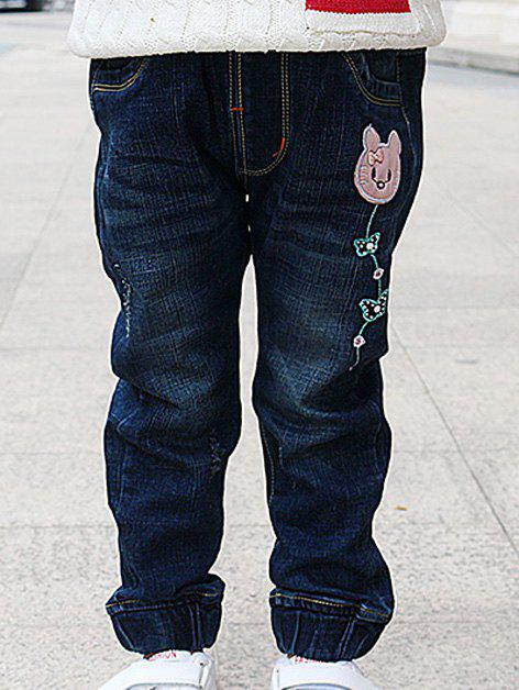Fancy Cartoon Embroidery Jeans
