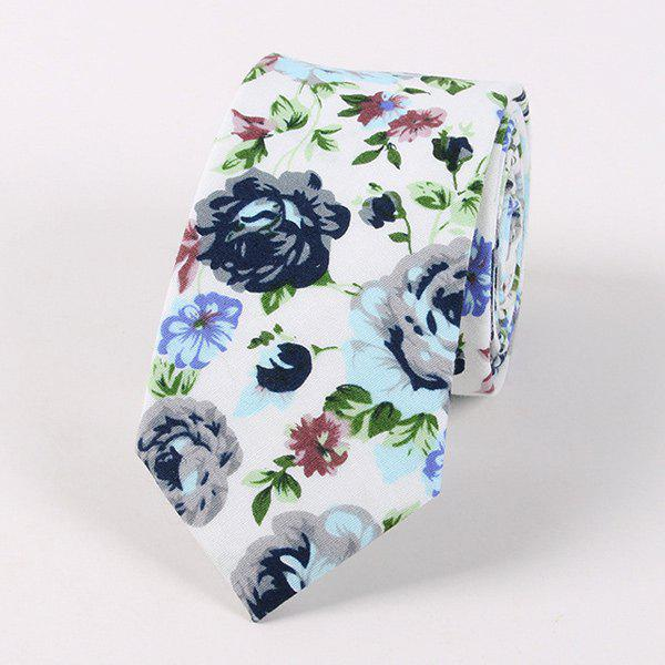 Flower Shivering Pattern Neck TieACCESSORIES<br><br>Color: WHITE; Type: Neck Tie; Group: Adult; Tie Type: Neck Tie; Style: Fashion; Pattern Type: Floral; Material: Polyester; Width(CM): 6CM; Length(CM): 145CM; Weight: 0.060kg; Package Contents: 1 x Tie;