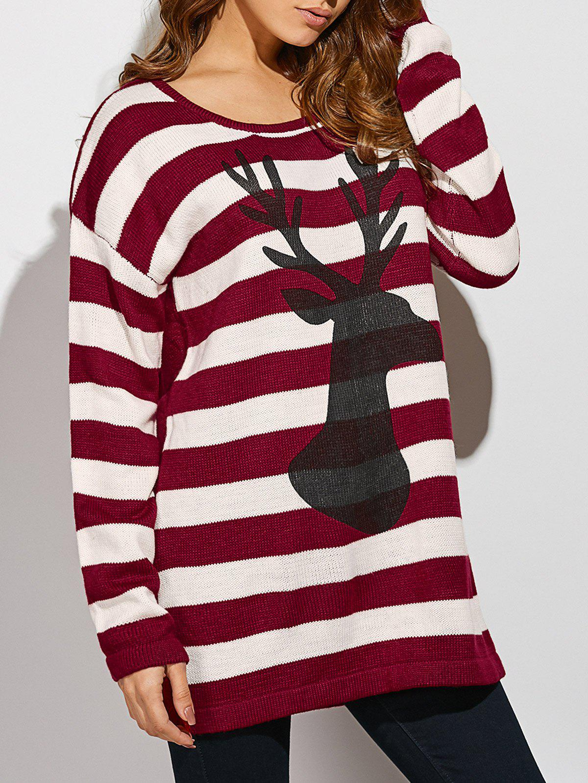 Christmas Button Back Striped SweaterWOMEN<br><br>Size: ONE SIZE(FIT SIZE XS TO M); Color: STRIPE; Type: Pullovers; Material: Acrylic; Sleeve Length: Full; Collar: Scoop Neck; Style: Casual; Pattern Type: Animal; Season: Fall,Spring,Winter; Weight: 0.444kg; Package Contents: 1 x Sweater;