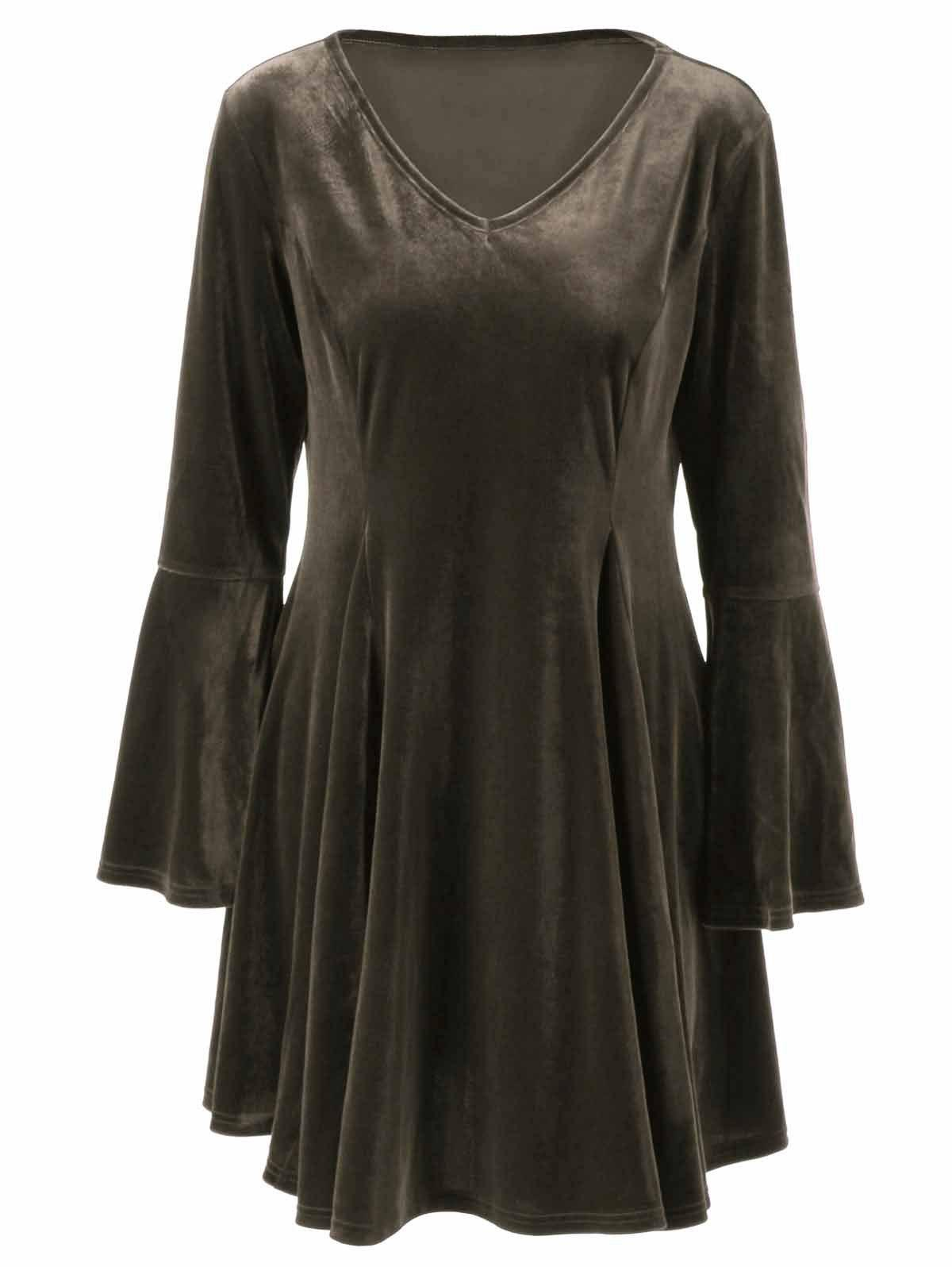 Flare Long Sleeve Velvet Skater Cocktail DressWOMEN<br><br>Size: 4XL; Color: BRONZE; Style: Brief; Material: Polyester,Spandex; Silhouette: A-Line; Dresses Length: Mini; Neckline: V-Neck; Sleeve Length: Long Sleeves; Pattern Type: Solid; With Belt: No; Season: Fall,Spring,Winter; Weight: 0.420kg; Package Contents: 1 x Dress;