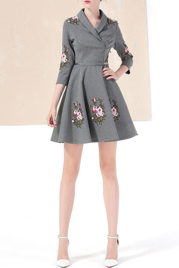 Shop Shawl Collar Floral Embroidered Mini Dress