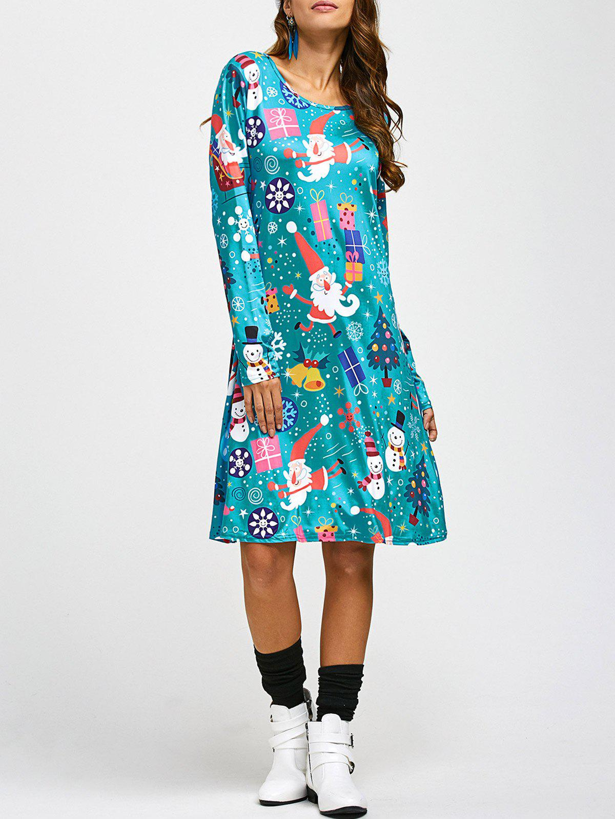 Jewel Neck Father Christmas Cartoon Print Long Sleeve DressWOMEN<br><br>Size: ONE SIZE; Color: BLUE; Style: Cute; Material: Polyester,Spandex; Silhouette: A-Line; Dresses Length: Knee-Length; Neckline: Jewel Neck; Sleeve Length: Long Sleeves; Pattern Type: Character; With Belt: No; Season: Fall,Winter; Weight: 0.570kg; Package Contents: 1 x Dress;
