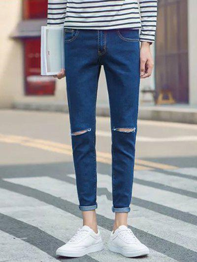 Latest Skinny Zipper Fly Jeans with Knee Rips
