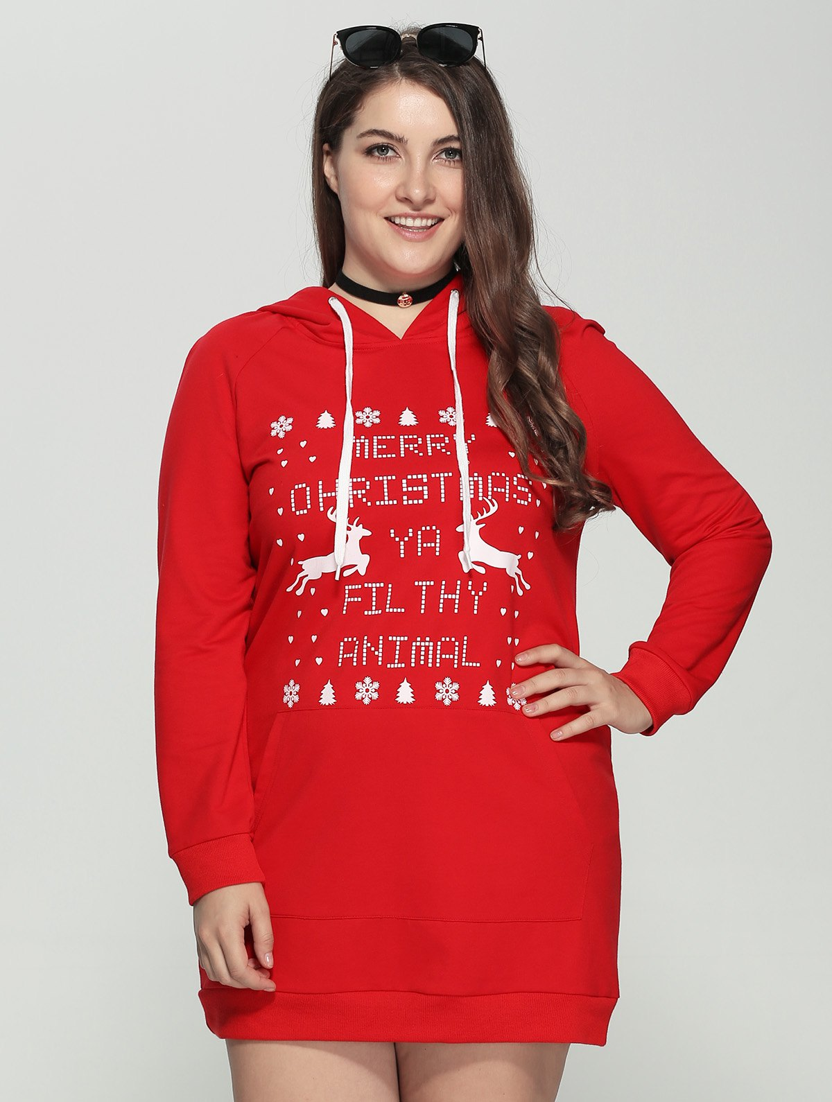 Plus Size Long Sleeve Letter Print Christmas Hooded Sweatshirt DressWOMEN<br><br>Size: 2XL; Color: RED; Style: Casual; Material: Polyester; Silhouette: Straight; Dresses Length: Mini; Neckline: Hooded; Sleeve Length: Long Sleeves; Pattern Type: Letter; With Belt: No; Season: Fall,Spring; Weight: 0.550kg; Package Contents: 1 x Dress;